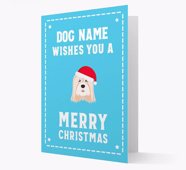 'Christmas Wishes' Card with your Tibetan Terrier Christmas Icon