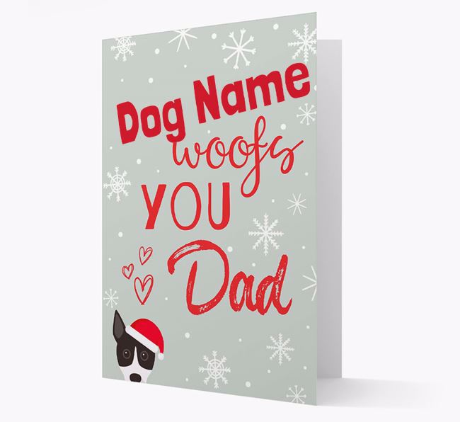 'I Woof You Dad' Card with your Basenji Christmas Icon