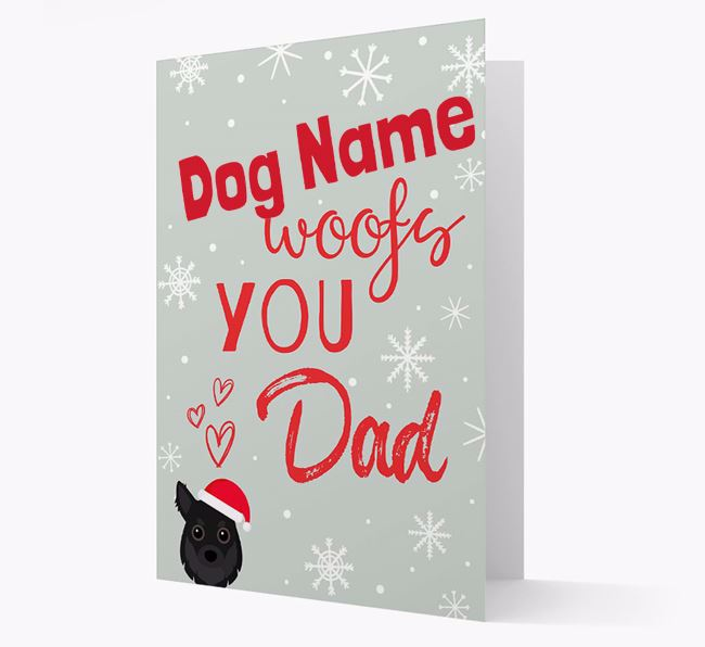 'I Woof You Dad' Card with your Chihuahua Christmas Icon