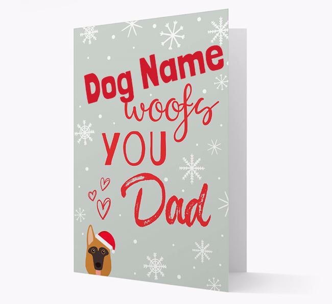 'I Woof You Dad' Card with your German Shepherd Christmas Icon