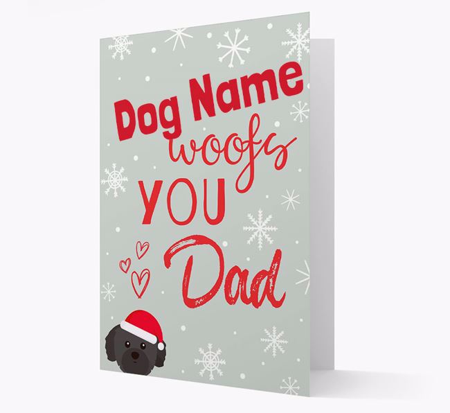 'I Woof You Dad' Card with your Shih Tzu Christmas Icon