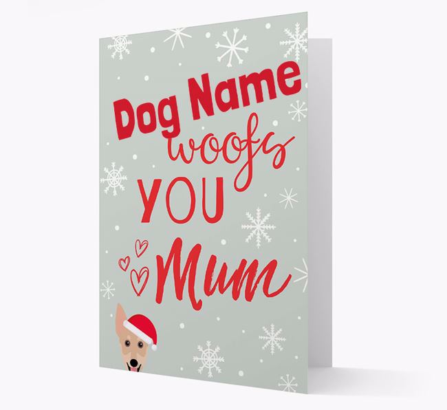 'I Woof You Mum' Card with your Australian Working Kelpie Christmas Icon