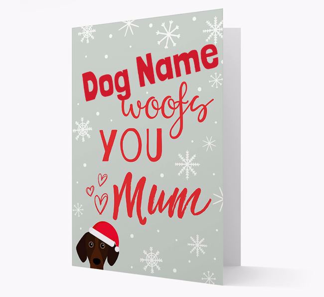 'I Woof You Mum' Card with your Bavarian Mountain Hound Christmas Icon