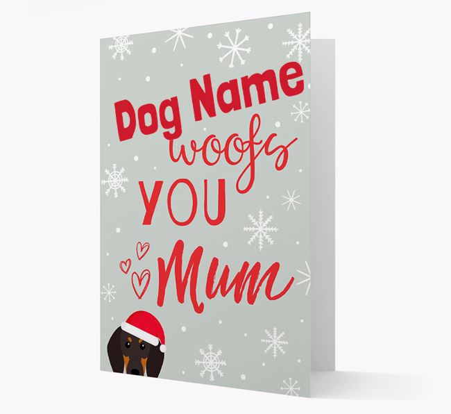'I Woof You Mum' Card with your Black and Tan Coonhound Christmas Icon