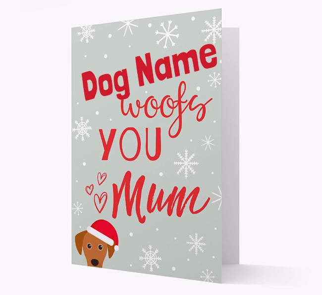 'I Woof You Mum' Card with your Blue Lacy Christmas Icon
