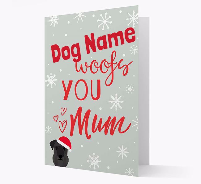 'I Woof You Mum' Card with your Cesky Terrier Christmas Icon