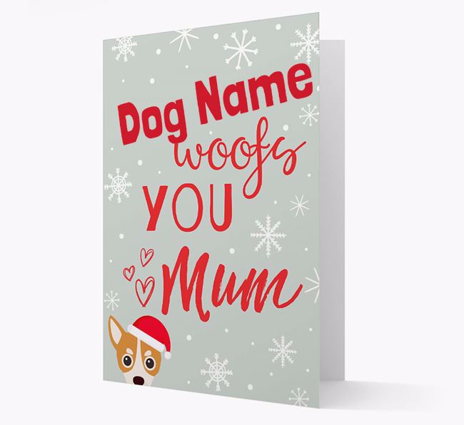'I Woof You Mum' Card with your Chihuahua Christmas Icon