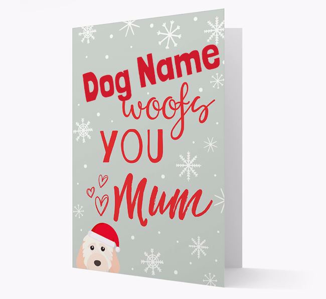 'I Woof You Mum' Card with your Cockapoo Christmas Icon