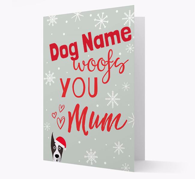 'I Woof You Mum' Card with your Great Dane Christmas Icon