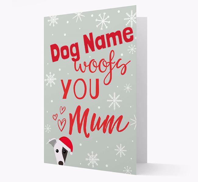 'I Woof You Mum' Card with your Greyhound Christmas Icon