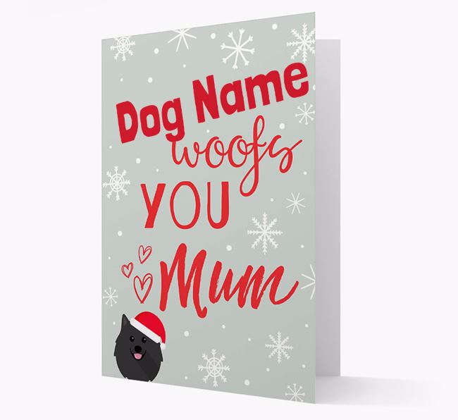 'I Woof You Mum' Card with your Pomeranian Christmas Icon