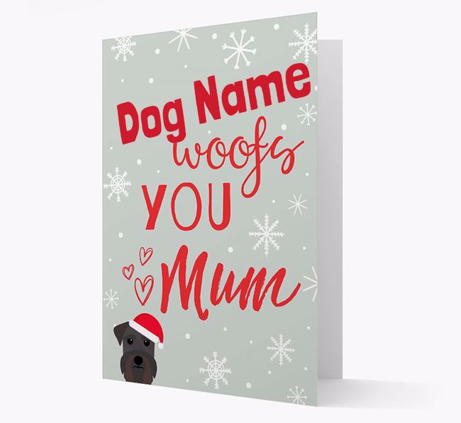 'I Woof You Mum' Card with your Schnauzer Christmas Icon
