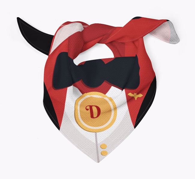 Personalised Vampire Suit Bandana for your Black and Tan Coonhound