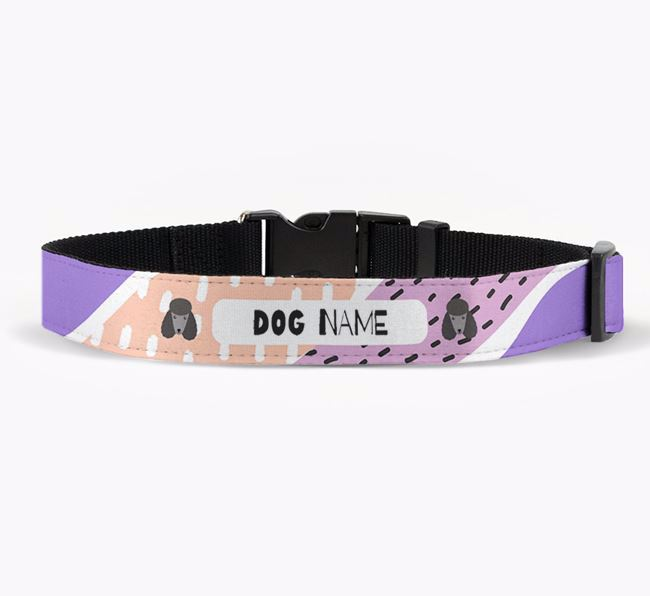 Personalised Fabric Collar with Abstract Pattern and Poodle Icon