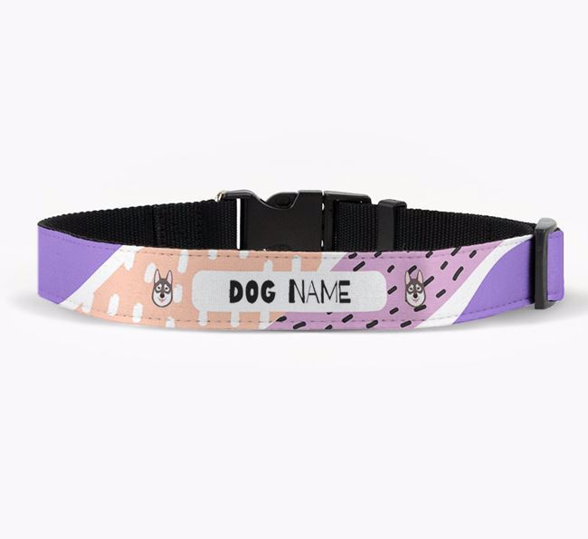 Personalised Fabric Collar with Abstract Pattern and Tamaskan Icon