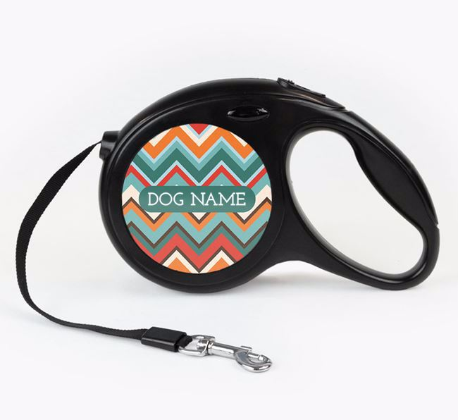 Personalised Retractable Lead with Zigzag Pattern for your Dog