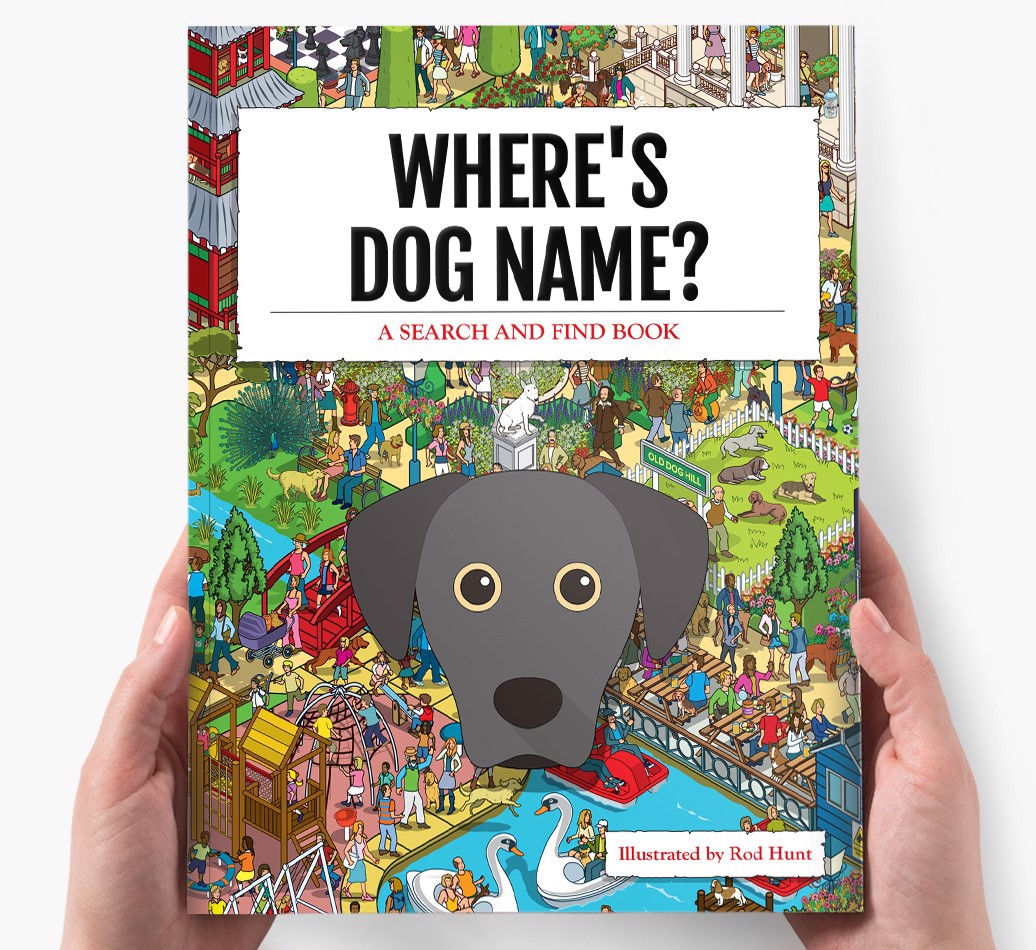 Personalized Where's Dog Name Book - holding in hands