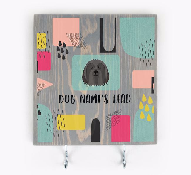 Personalised Wooden Sign 'Your Dog's Lead' with Bearded Collie Icon