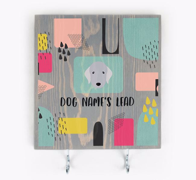 Personalised Wooden Sign 'Your Dog's Lead' with Bedlington Terrier Icon