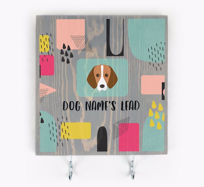 Personalised Wooden Sign 'Your Dog's Lead' with Foxhound Icon