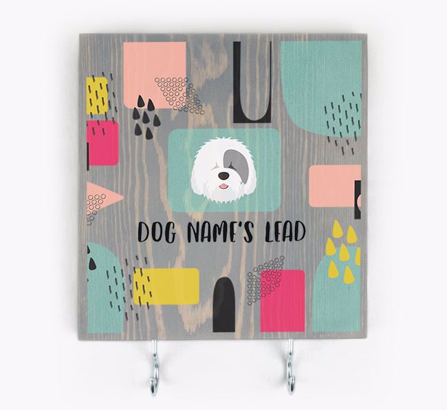 Personalised Wooden Sign 'Your Dog's Lead' with Old English Sheepdog Icon