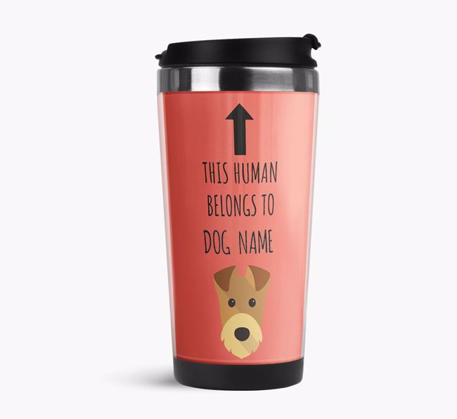 'This Human Belongs to' Travel Flask with Airedale Terrier Icon