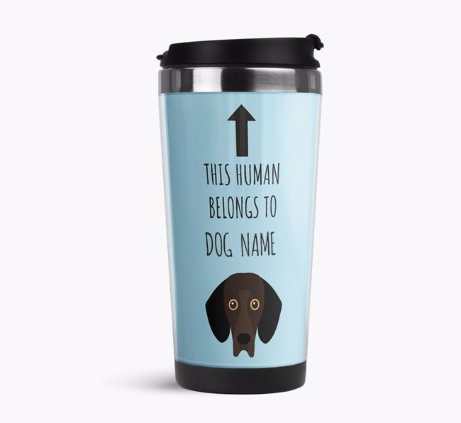 'This Human Belongs to' Travel Flask with Bassador Icon