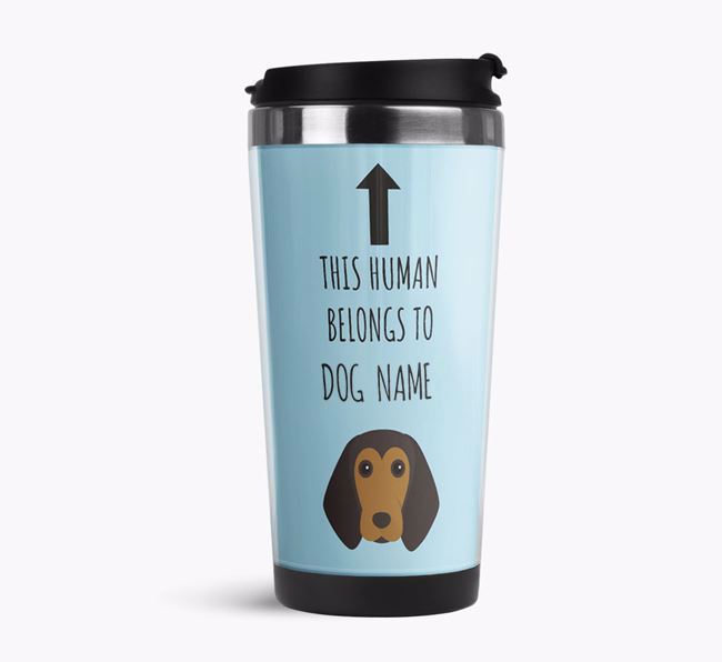 'This Human Belongs to' Travel Flask with Beagle Icon