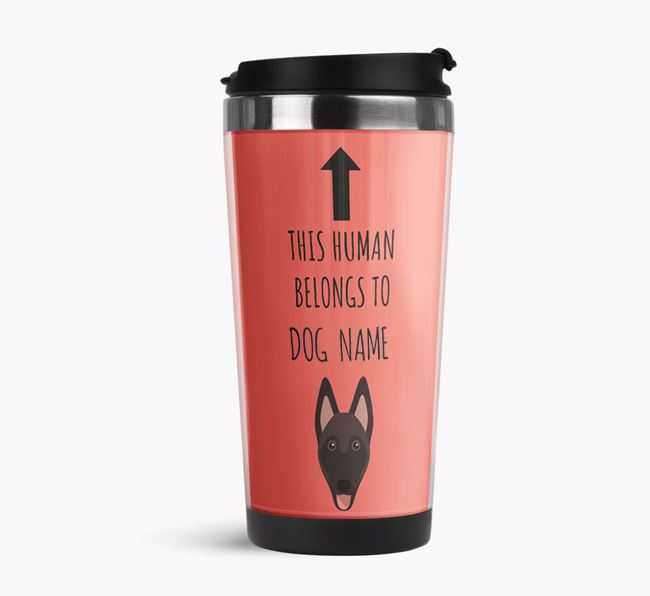 'This Human Belongs to' Travel Flask with Belgian Malinois Icon