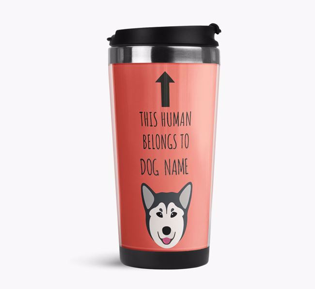 'This Human Belongs to' Travel Flask with Canadian Eskimo Dog Icon