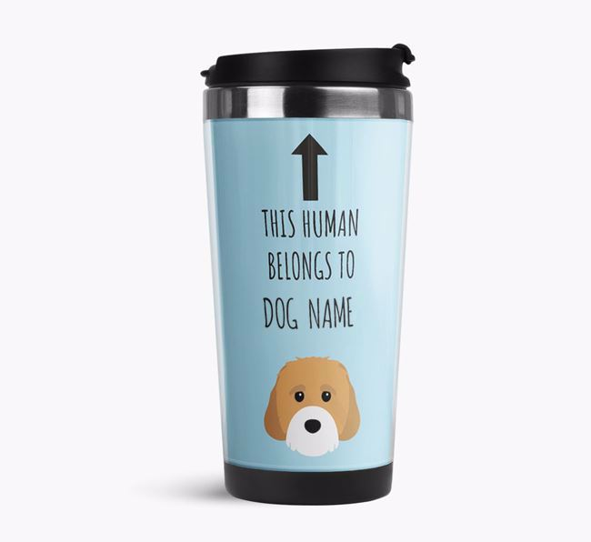 'This Human Belongs to' Travel Flask with Cavachon Icon