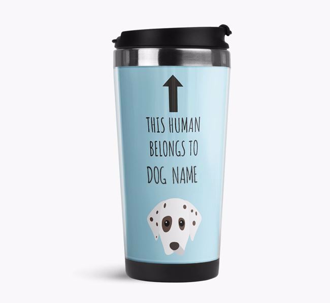 'This Human Belongs to' Travel Flask with Dalmatian Icon