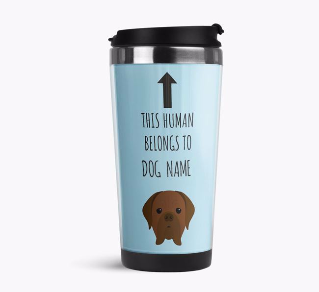 'This Human Belongs to' Travel Flask with Dogue de Bordeaux Icon