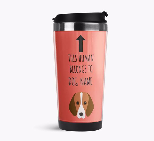 'This Human Belongs to' Travel Flask with Foxhound Icon