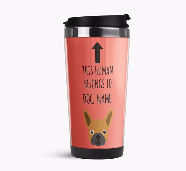 'This Human Belongs to' Travel Flask with French Bulldog Icon