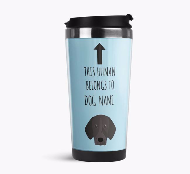 'This Human Belongs to' Travel Flask with German Shorthaired Pointer Icon