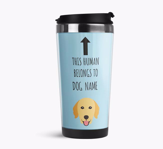 'This Human Belongs to' Travel Flask with Golden Retriever Icon