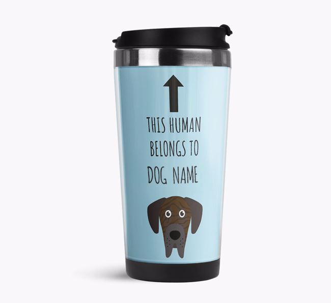 'This Human Belongs to' Travel Flask with Great Dane Icon