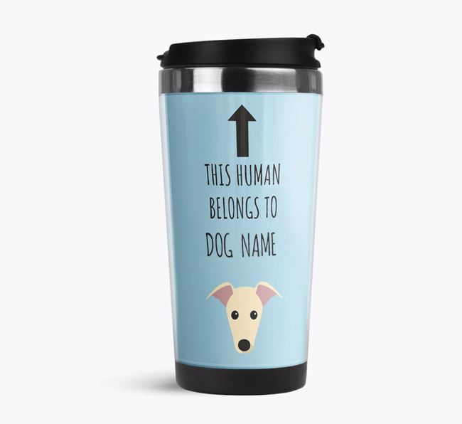 'This Human Belongs to' Travel Flask with Greyhound Icon