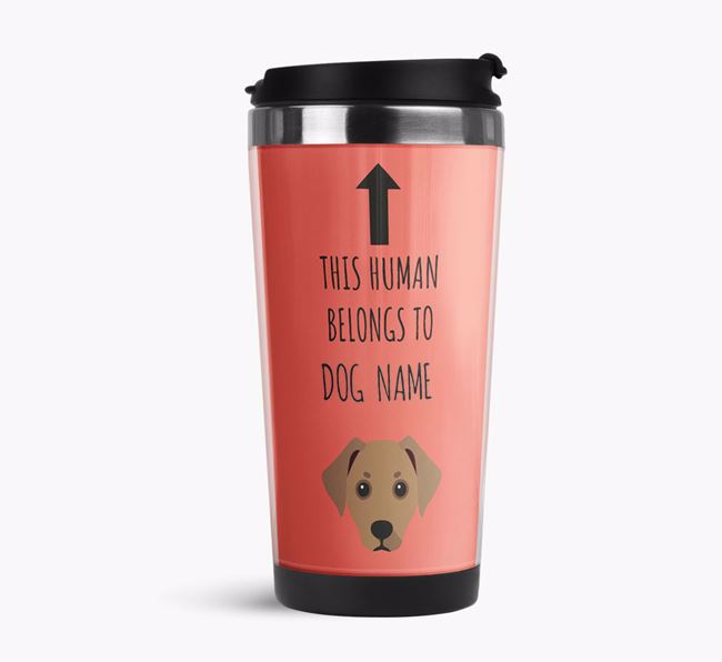 'This Human Belongs to' Travel Flask with Jackshund Icon
