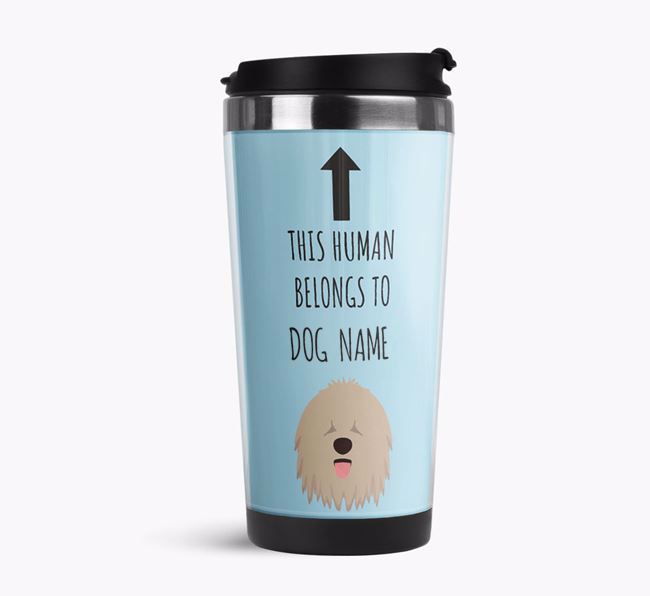 'This Human Belongs to' Travel Flask with Komondor Icon