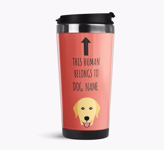 'This Human Belongs to' Travel Flask with Dog Icon