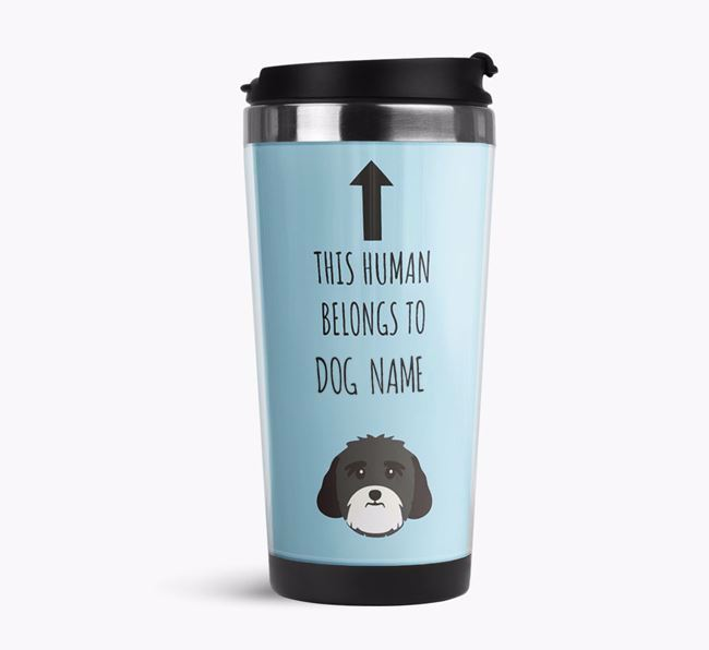 'This Human Belongs to' Travel Flask with Lhasa Apso Icon