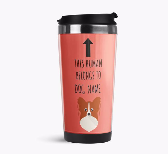 'This Human Belongs to' Travel Flask with Papillon Icon