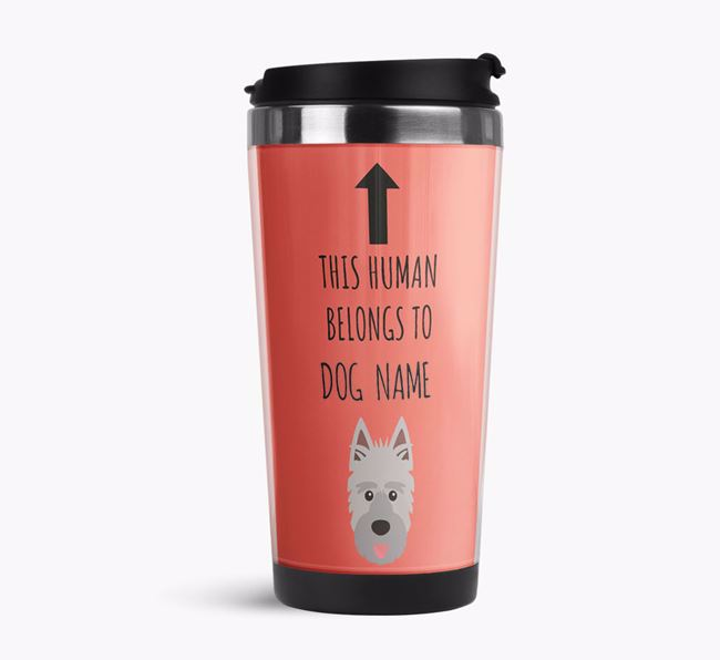 'This Human Belongs to' Travel Flask with Picardy Sheepdog Icon