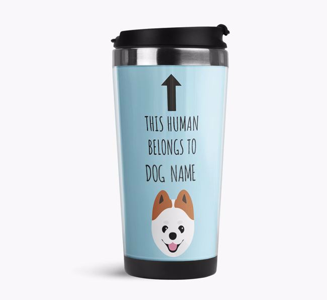 'This Human Belongs to' Travel Flask with Pomeranian Icon