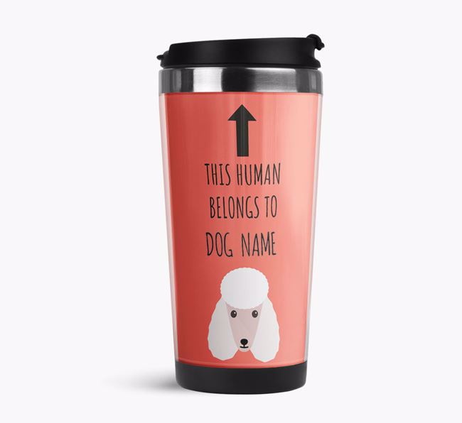 'This Human Belongs to' Travel Flask with Poodle Icon