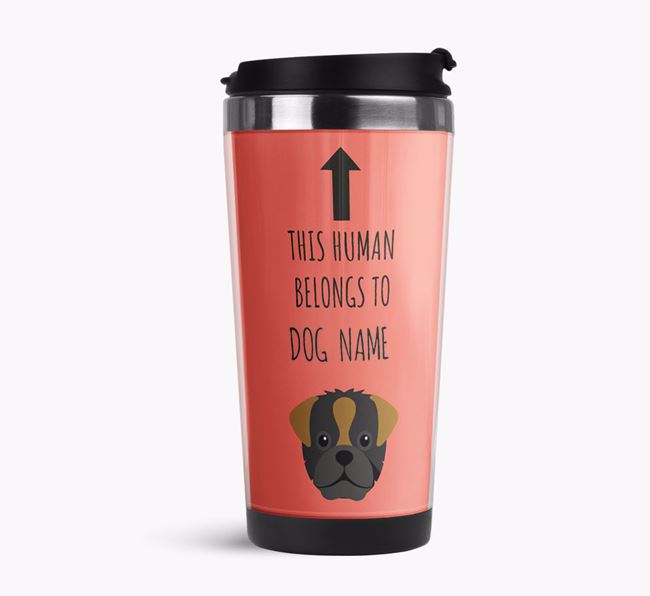 'This Human Belongs to' Travel Flask with Pugapoo Icon