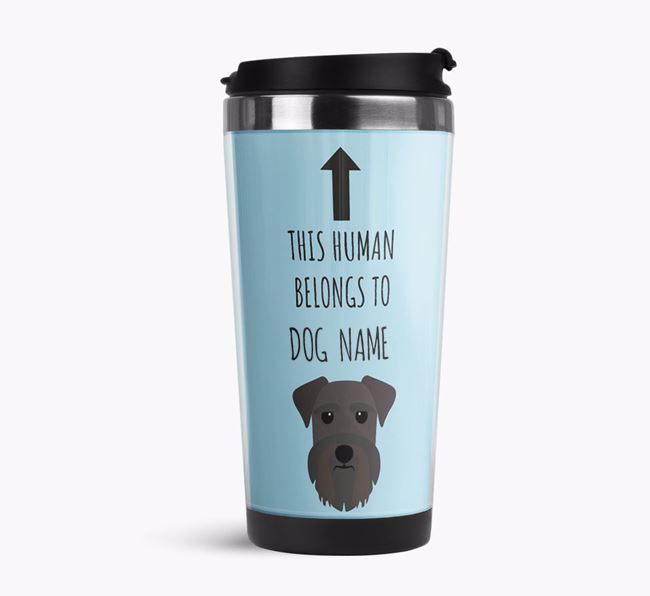 'This Human Belongs to' Travel Flask with Schnauzer Icon