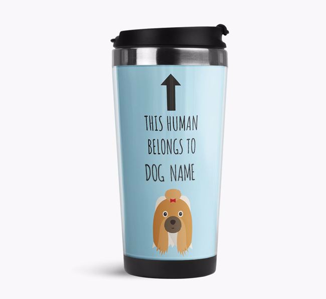 'This Human Belongs to' Travel Flask with Shih Tzu Icon